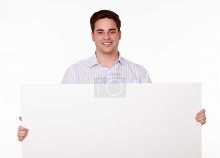 Photo for Portrait of a cute caucasian adult man on stylish shirt holding a blank placard of copyspace on isolated background - Royalty Free Image