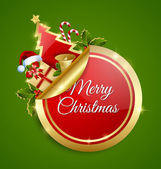 Red and golden Merry Christmas sticker with traditional decorations placed on green background