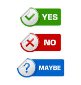 Yes no maybe stickers with banners isolated on white background