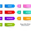 Colorful paper stripes with titles of days of the ...