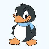 Vector illustration of cartoon penguin for design element
