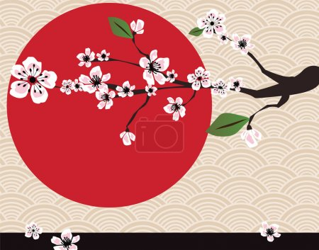 Illustration for Traditional Japanese background with cherry blossom, vector - Royalty Free Image