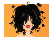 Young woman with black hair leaves and butterflies coming out of her hair on orange background
