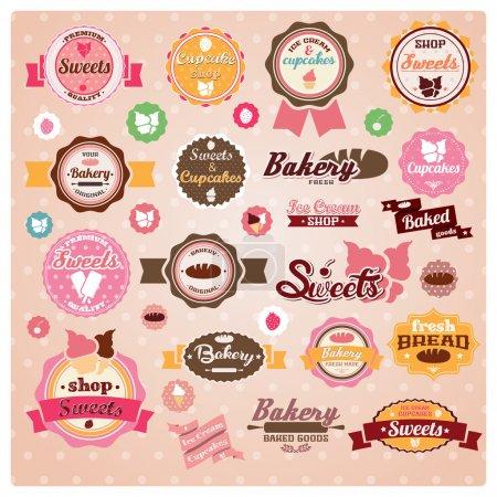 Illustration pour Collection d'étiquettes vintage rétro crème glacée et boulangerie, autocollants, badges et rubans, illustration vectorielle - image libre de droit