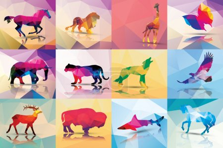 Illustration for Collection of geometric polygon animals, horse, lion, butterfly, eagle, buffalo, shark, wolf, giraffe, elephant, deer, leopard, patter design, vector illustration - Royalty Free Image