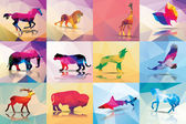 Collection of geometric polygon animals horse lion butterfly eagle buffalo shark wolf giraffe elephant deer leopard patter design vector illustration