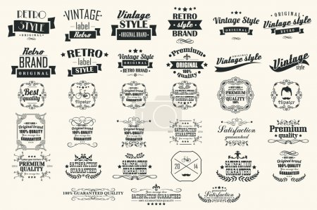 Illustration for Collection of vintage retro labels, badges, stamps, ribbons, marks and typographic design elements, vector illustration - Royalty Free Image