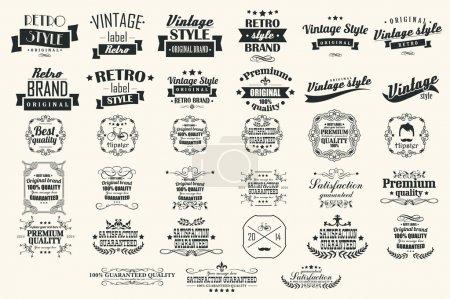 Illustration pour Collection of vintage retro labels, badges, stamps, ribbons, marks and typographic design elements, vector illustration - image libre de droit