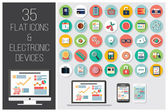 35 flat web icons and 4 electronic devices vector illustration