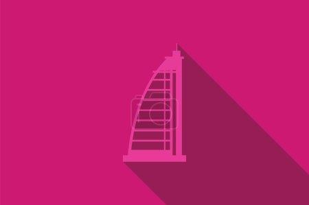 World landmark, The Burj Al Arab Hotel, Dubai, Emirates, vector illustration