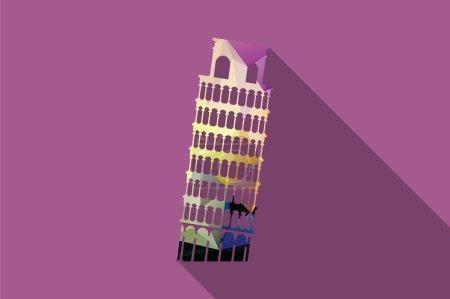 World landmark, Leaning Tower of Pisa, Italy, vector illustration