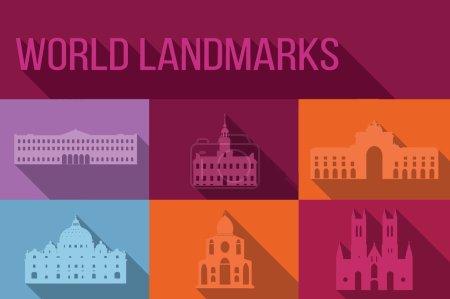 World landmarks, famous buildings, Europe, America, Asia, vector illustration