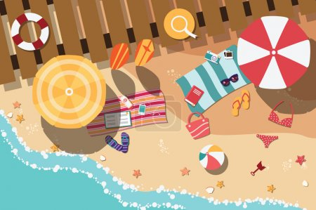 Summer beach in flat design, sea side and beach items, vector illustration
