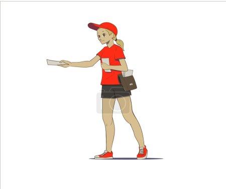 Illustration pour Illustration vectorielle du distributeur de flyers - image libre de droit