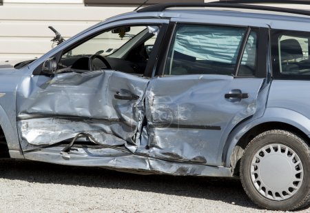 Crashed car side view
