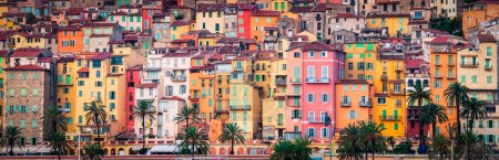 Photo for Detail of colorful Provence village houses, Menton, France - Royalty Free Image