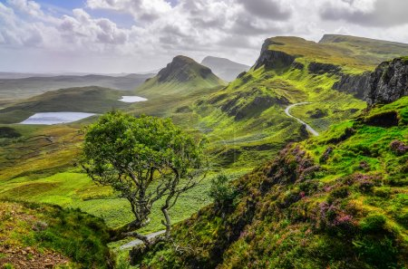 Scenic view of Quiraing mountains in Isle of Skye,...
