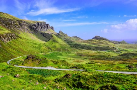 Photo for View of Quiraing mountains and the road, Scottish highlands, United Kingdom - Royalty Free Image