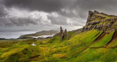 Panoramic view of Old man of Storr mountains, Scot...