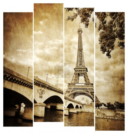 Eiffel tower vintage retro in stripes, from Seine river, Paris