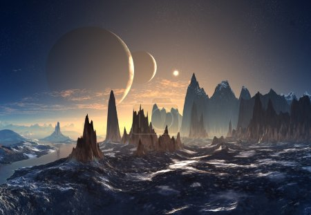 Photo for 3d rendered alien landscape - Royalty Free Image