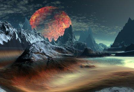 Foto de Ilustraciones 3D prestados de un planeta alienígena con montañas y una luna - Imagen libre de derechos