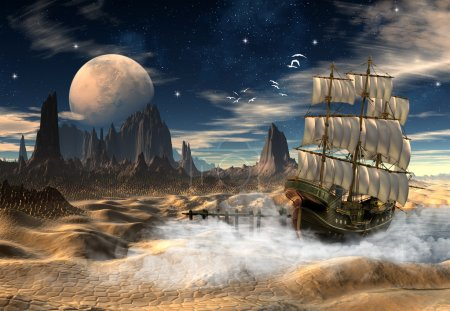3D rendered fantasy scene with a ship in a desert...