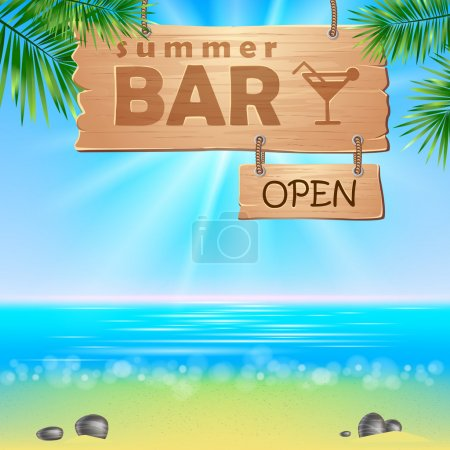 Photo for Summerl seaside view poster. Vector background. - Royalty Free Image