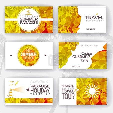 Set of geometric summer visiting card. corporate identity
