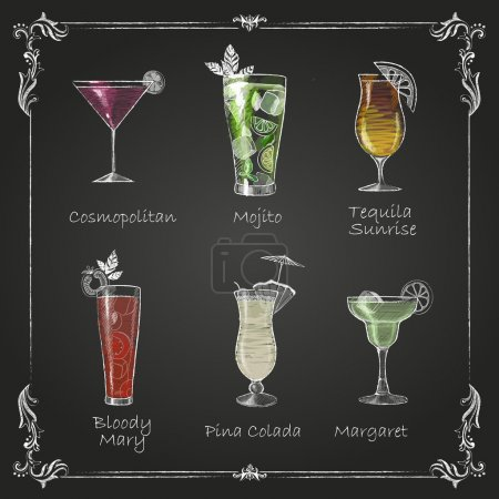 Illustration pour Des dessins à la craie. menu cocktail - image libre de droit