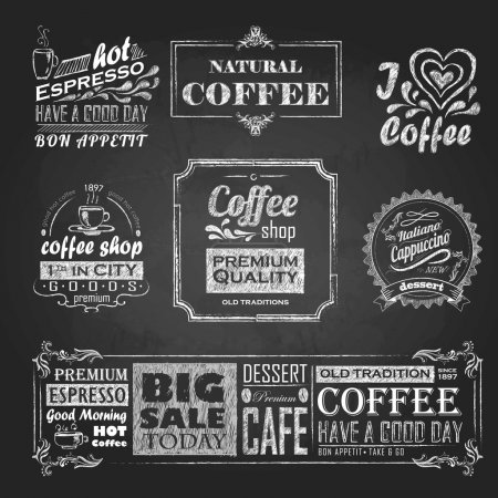 chalk calligraphic drawing. Set of Coffee sticker