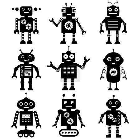 Illustration pour Ensemble de silhouettes de robot - image libre de droit