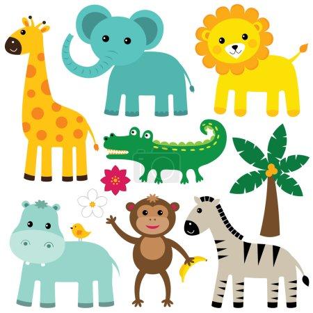 Illustration pour Ensemble d'animaux de dessin animé mignon - image libre de droit