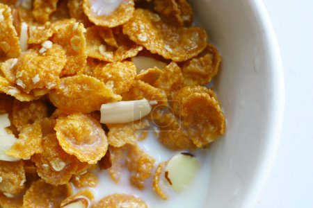 Photo for Top view of a cereal bowl with almond - Royalty Free Image