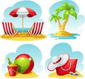 """Постер, картина, фотообои """"символ пляжа установлен"""""""