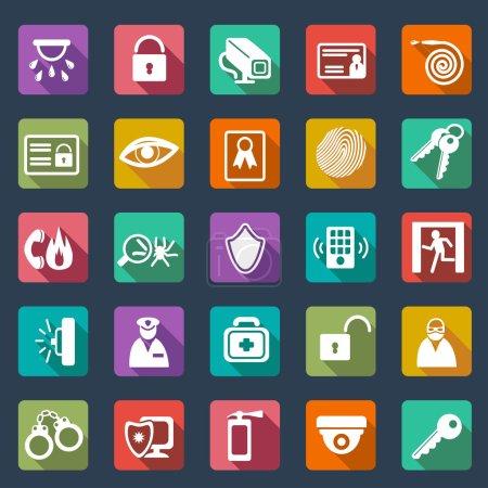 Illustration pour Icônes de sécurité- design plat - image libre de droit