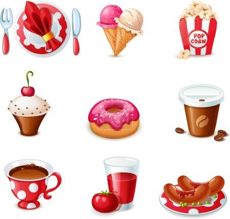 Illustration pour Icônes alimentaires - image libre de droit