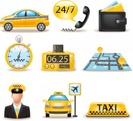Illustration pour Service de taxi ensemble - image libre de droit