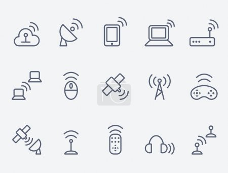 Illustration for Wireless icon set - Royalty Free Image
