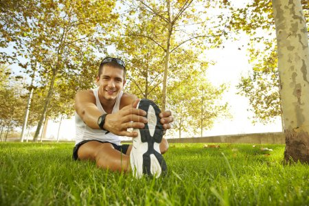 Photo for Young man sports exercises. - Royalty Free Image