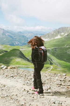 Photo for Young woman doing trekking activity. - Royalty Free Image
