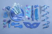 Party essentials on blue tones.