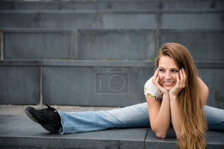 Flexible woman outdoor portrait