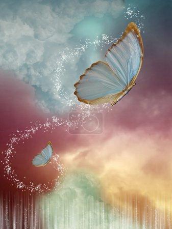 Photo pour Gros papillons dans le ciel avec un ciel de fantaisie - image libre de droit