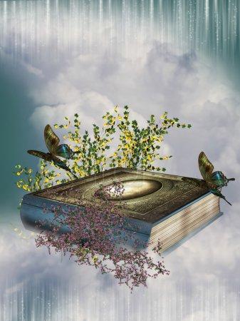 Photo pour Conte de fées itinérai le ciel avec des papillons et fleurs - image libre de droit