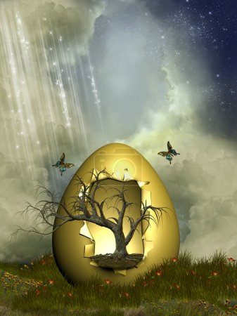 Fantasy egg with tree