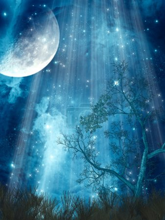 Photo pour Paysage de fantaisie avec grande lune dans la forêt - image libre de droit