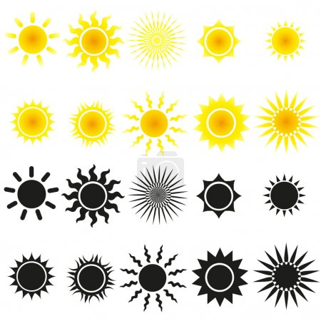 Illustration for Set of sun vectors in yellow and black - Royalty Free Image