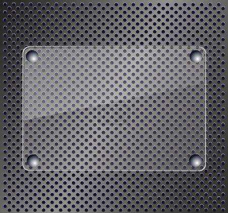 Illustration pour Plaque de verre sur fond métallique - image libre de droit