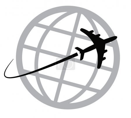 Airplane icon around the world